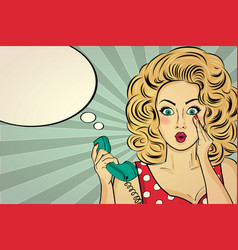 Surprised pop art woman with retro phone who vector
