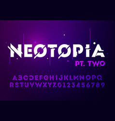 Technology effect font futuristic typography vector