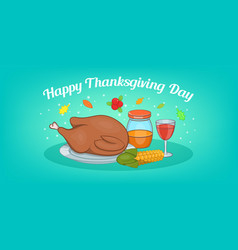 Thanksgiving meat horizontal banner cartoon style vector