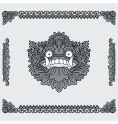 Traditional indonesian art head of deity vector
