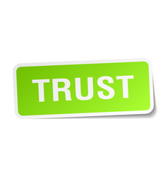 Trust square sticker on white vector