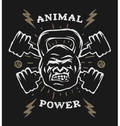Two barbell and head gorilla weight vector image