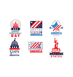 United states america logo design collection vector