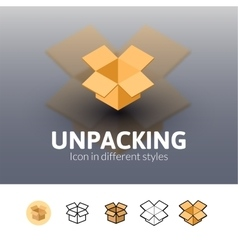 Unpacking icon in different style vector