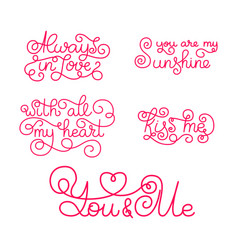 Valentines day romantic phrases template for a vector