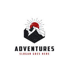 vintage emblem mountain adventure logo icon vector image