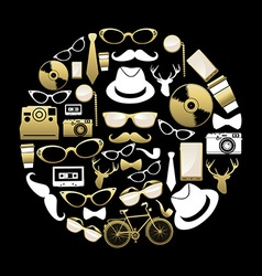 Vintage hipster concept icons silhouette in gold vector