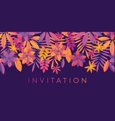 Violet night tropical floral element vector