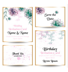 watercolor flowers blossom card set vintage vector image