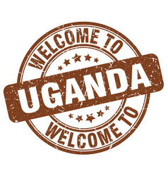 Welcome to uganda brown round vintage stamp vector