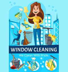 Window cleaning service workers and tools vector