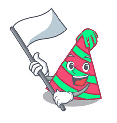 With flag party hat mascot cartoon vector