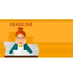 Woman having problem with deadline vector