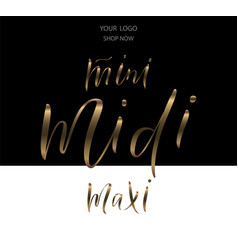 Words mini midi maxi for clothes vector