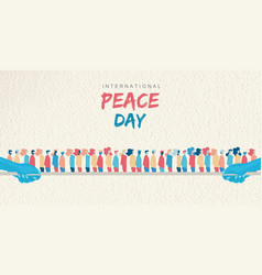 World peace day card of diverse people group vector