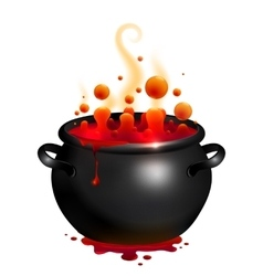 Black cauldron with red witches potion vector
