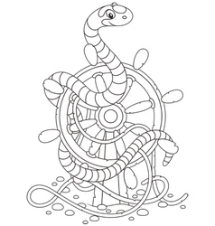Sea snake on a helm vector image vector image