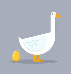 White goose and golden egg vector