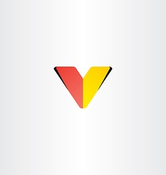 logo letter v red yellow symbol vector image vector image