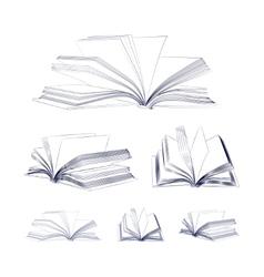 Open book sketch set vector
