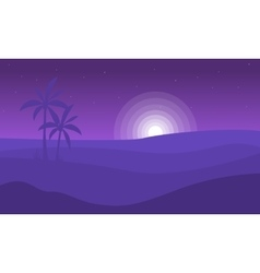 Silhouette of desert and moon landscape vector