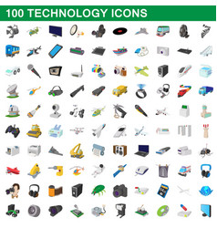 100 technology set cartoon style vector image vector image