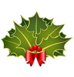 christmas holly leafs with red bow and berries vector image vector image