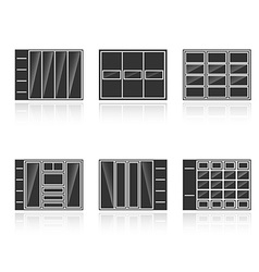 Set of black silhouettes cupboards vector image vector image