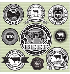 set of labels with cow and beef vector image vector image
