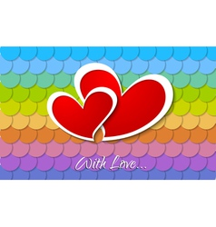 Two paper hearts design vector image
