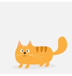 Cute cartoon red fat cat Card Kids background vector image