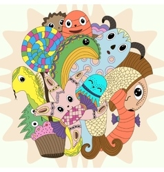 cute doodle monster mythical creatures cartoon vector image