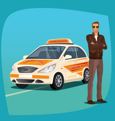 driving instructor with school vehicle vector image vector image