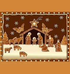 Gingerbread Nativity scene vector image