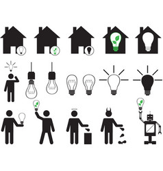 Human pictogram with bulbs vector image vector image
