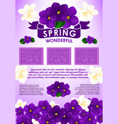 spring floral poster with flower bouquet design vector image vector image