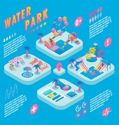 Water park isometric infographics vector