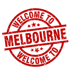 welcome to melbourne red stamp vector image vector image