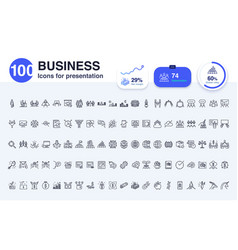 100 business line icon vector image