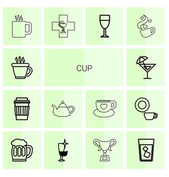 14 cup icons vector