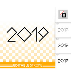 2019 year numeric simple black line icon vector image