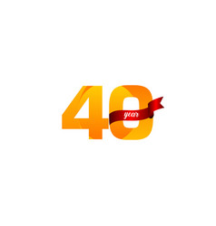 40 years anniversary celebration yellow with red vector