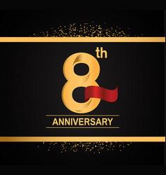 8 years anniversary logotype with premium gold vector