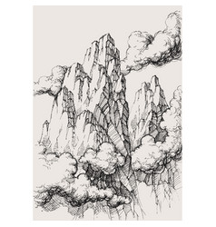 alpine landscape drawing high mountains in the vector image