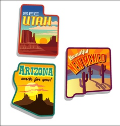 Arizona New Mexico Utah retro vector image