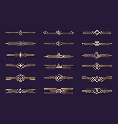 art deco ornament 1920s vintage gold borders and vector image