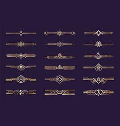 Art deco ornament 1920s vintage gold borders vector