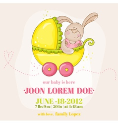 Baby girl arrival card - with bunny vector
