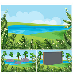 Background scenes with hippo in the river vector