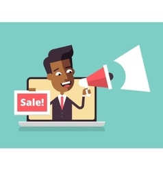 Black man leaning out of laptop screen Sale vector